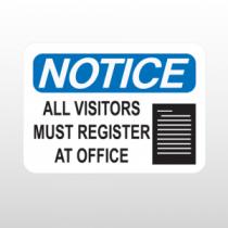 OSHA Notice all Visitors Must Register At Office