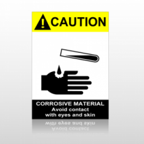 ANSI Caution Corrosive Material Avoid Contact With Eyes And Skin