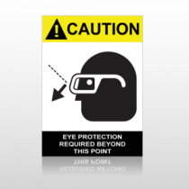 ANSI Caution Eye Protection Required Beyond This Point