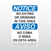 OSHA Notice No Eating Or Drinking In This Area Aviso No Coma O Beba En Esta Area